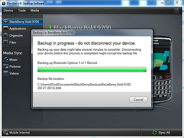 Backing up all BlackBerry data and settings