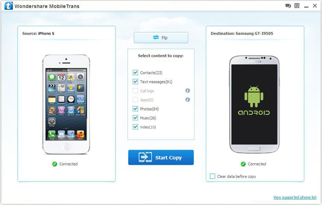 dr fone-Switch – Best Phone Transfer to Transfer Data from/to