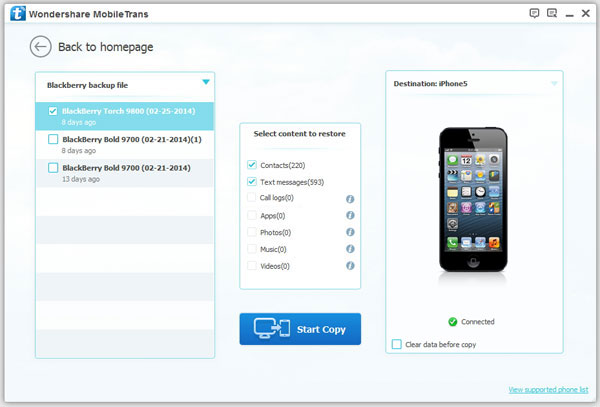 Transfer BlackBerry contacts to iPhone