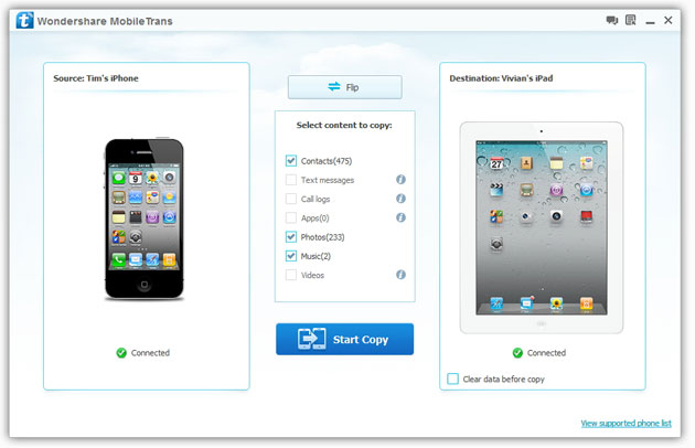 Transfer Contacts from iPhone to iPad with MobileTrans
